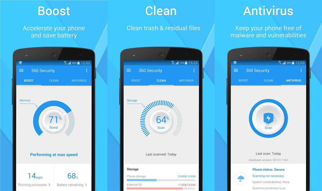 Boost your smartphone's speed, clean junk files, fend off viruses, and more with 360 Security. (PRNewsFoto/360 Security Group)