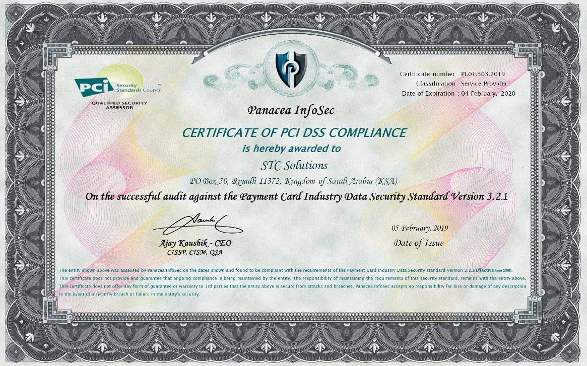 PCI Certificate JDC