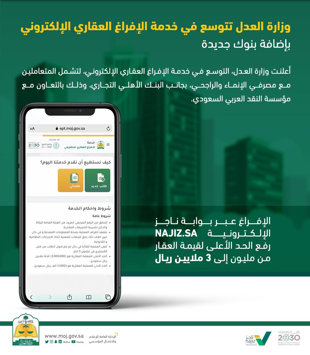وزارة العدل تتوسع في خدمة الإفراغ العقاري الإلكتروني