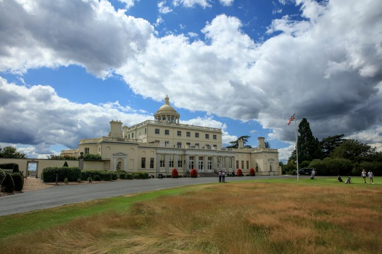 WOODHALL SPA, ENGLAND - AUGUST 03: A view of the clubhouse ad hotel at Stoke Park Golf Club on August 03, 2020 in Stoke Poges, England. (Photo by David Cannon/Getty Images)