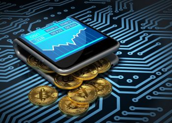 64303519 - concept of digital wallet and bitcoins on printed circuit board. gold bitcoins spill out of the curved smartphone. 3d illustration.